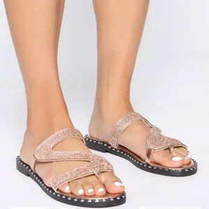 Fashion Nova Wild Diva Rose Gold Sandals